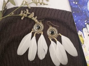 Pearl White Feather Earring