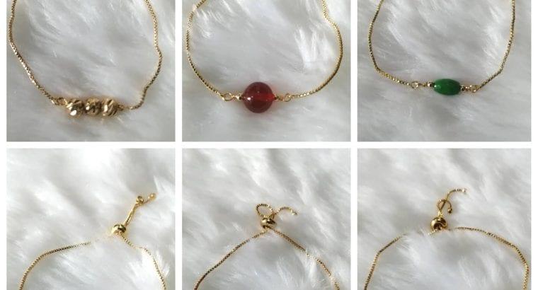 Rantai tangan mutiara /jade dan red agate dan 18k chain