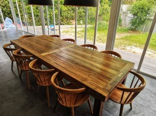 Framed Plank Teak Dining Table (rustic)