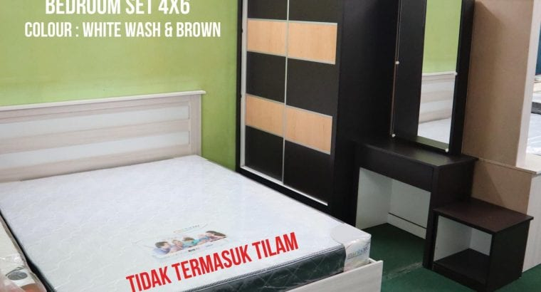 RM550 Bedroom Set Available in White Wash & Brown Colour