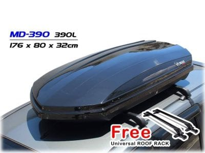 TAKA MD-390 Car Roof Box [Explorer Series] [L Size] [Glossy Black] [FREE Universal Roof Rack] Cargo ROOFBOX