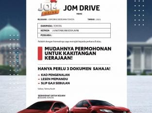 Bawa pulang Toyota baru dengan JomDrive, khusus untuk kakitangan kerajaan